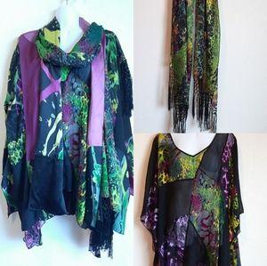 Simply Silk Abstract Kimono Blouse Scarf Set